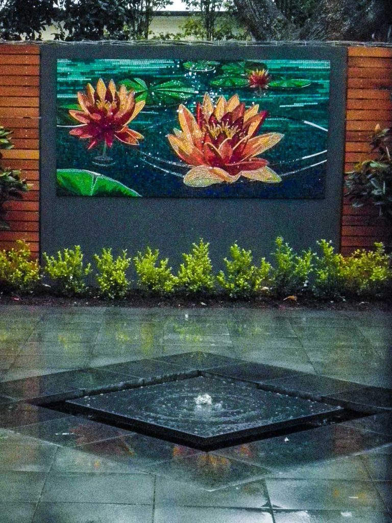 Water Lily Mosaic 1m x 2m stained glass and mirror mosaic Private commission - Hyde Park