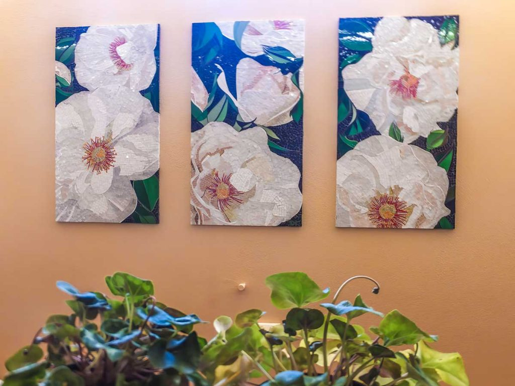 Rose Triptych 3 x .9m x .5m stained glass mosaic panels Private commission - Brighton