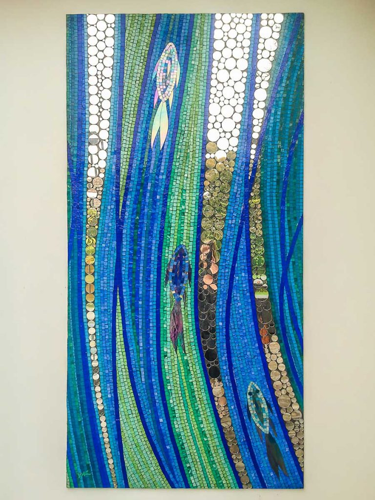 Fish and Bubbles 1m x 2m stained glass and mirror mosaic Hyde Park private commission