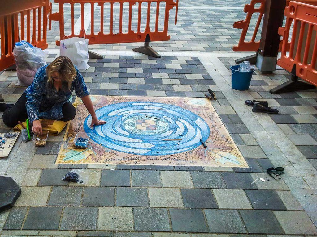 Piazza Della Valle Floor Mosaic - installing the mosaic