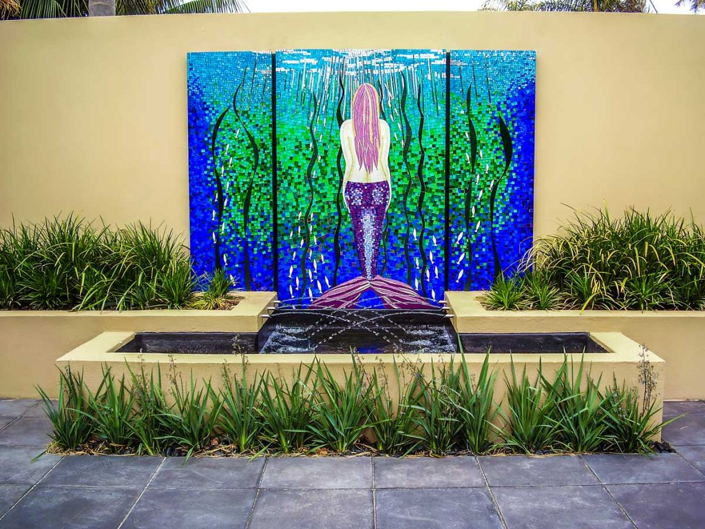 Mermaid Water Feature 1.8m x 1.2m stained glass mosaic. Private commission - Somerton Park