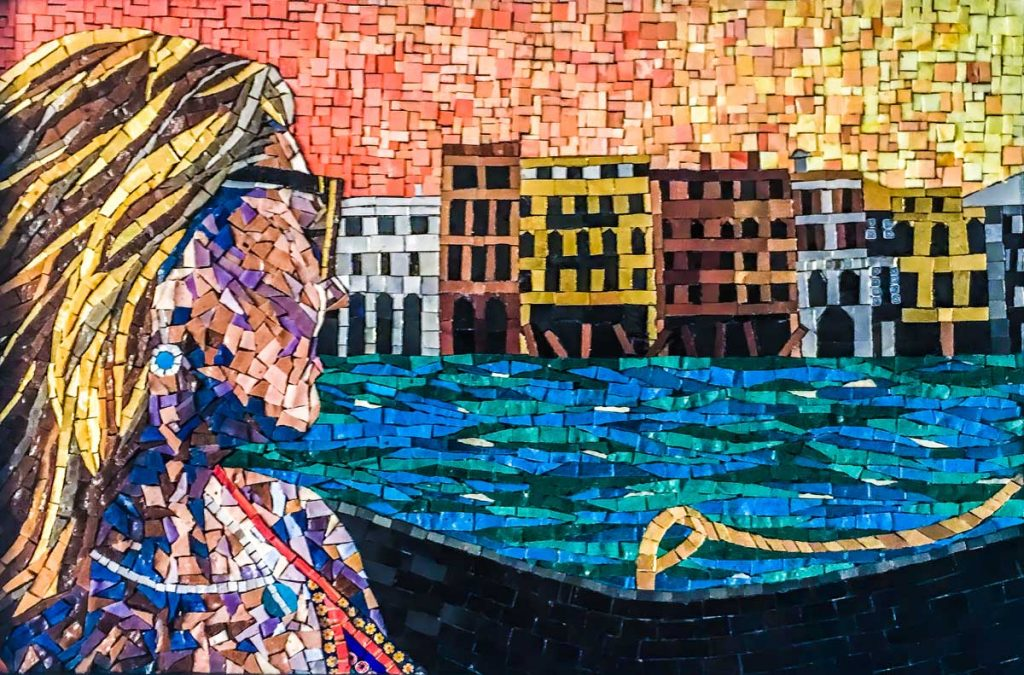 Alex in Venice I attended a workshop at Orsoni in Venice in 2016, This is a piece I created at the workshop. 60cm x 40cm mosaic of my daughter, Alex in Venice made with gold, white gold, bronze and glass smalti.