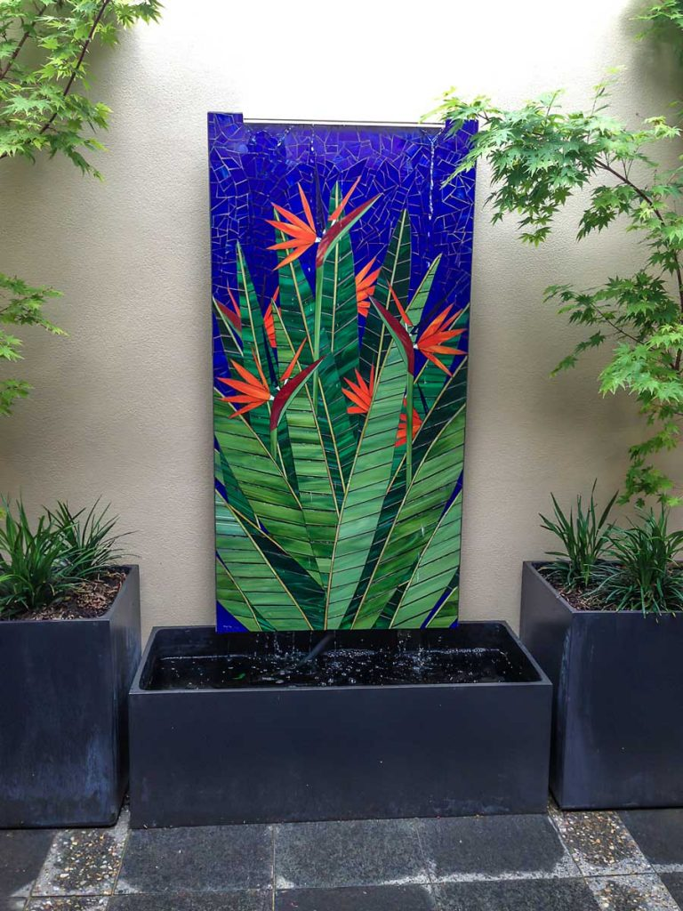 Bird of Paradise Water Feature .9m x 1.8m stained glass mosaic. Private Commission - North Adelaide