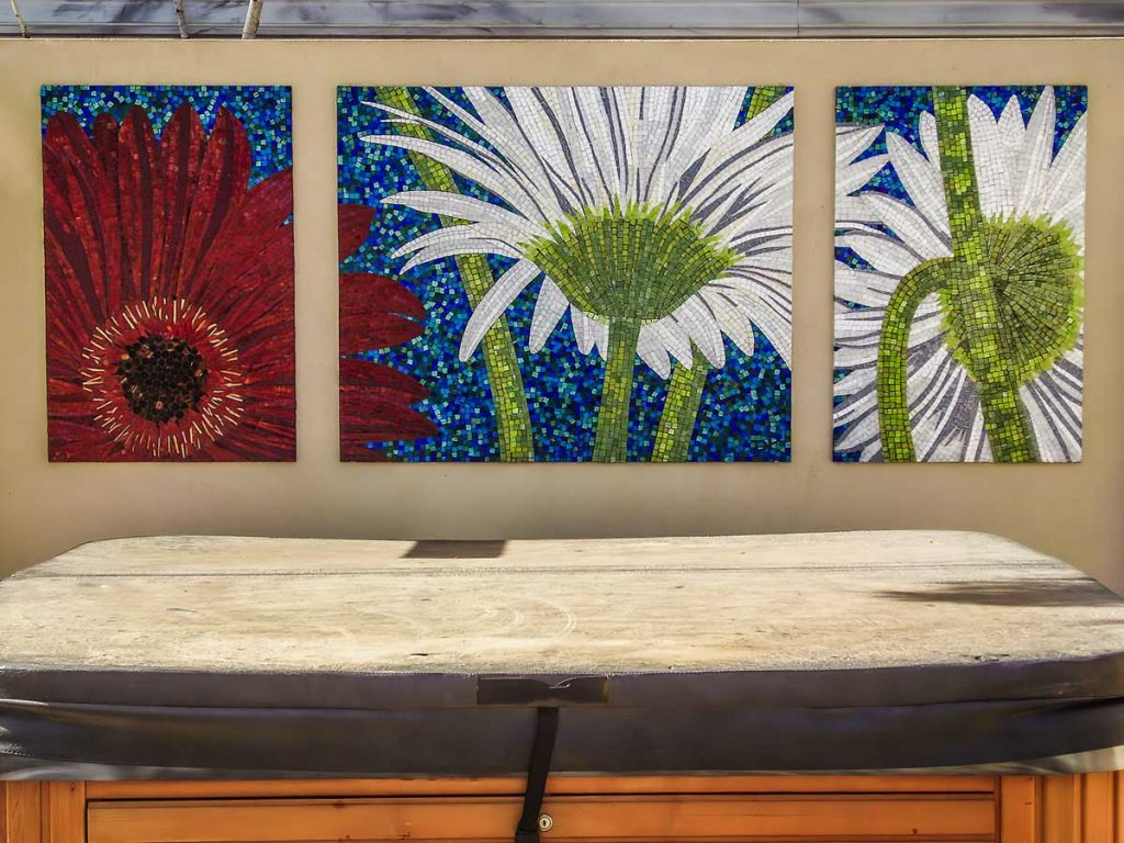 Gerbera Triptych 1 x 1.2m x .9m and 2 x .6m x .9m stained glass mosaic panels. Private commission - Glenelg