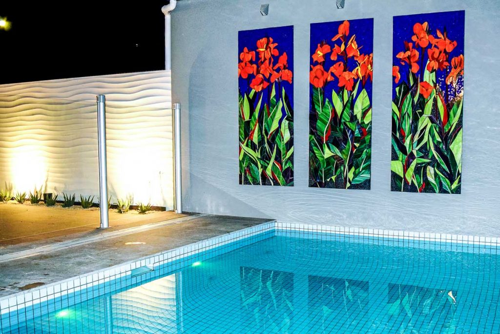 Canna Lily Triptych 3 x 1.75m x .7m Canna Lily stained glass mosaic panels. Private commission Glenelg.