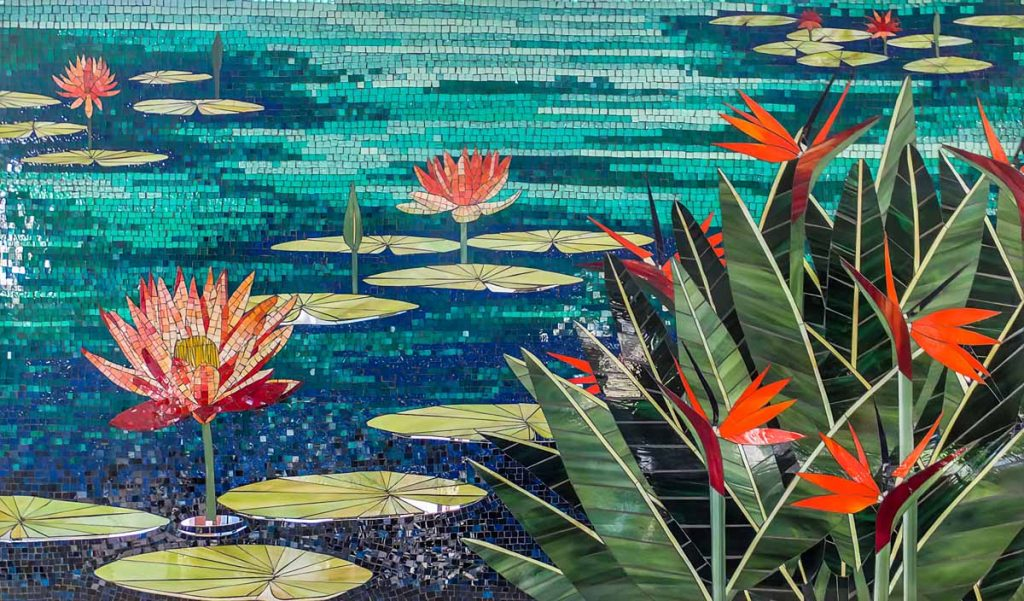 Water Lily and Bird of Paradise Mosaic