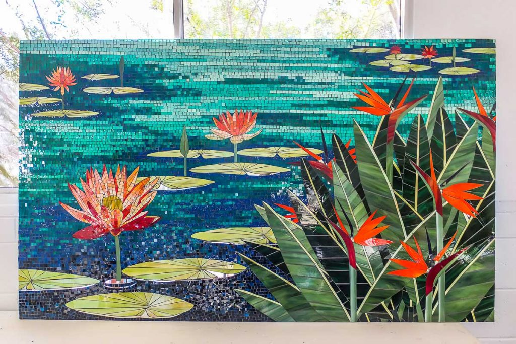 Water Lily and Bird of Paradise mosaic 1.75m x 1.1m stained glass mosaic Private Commission