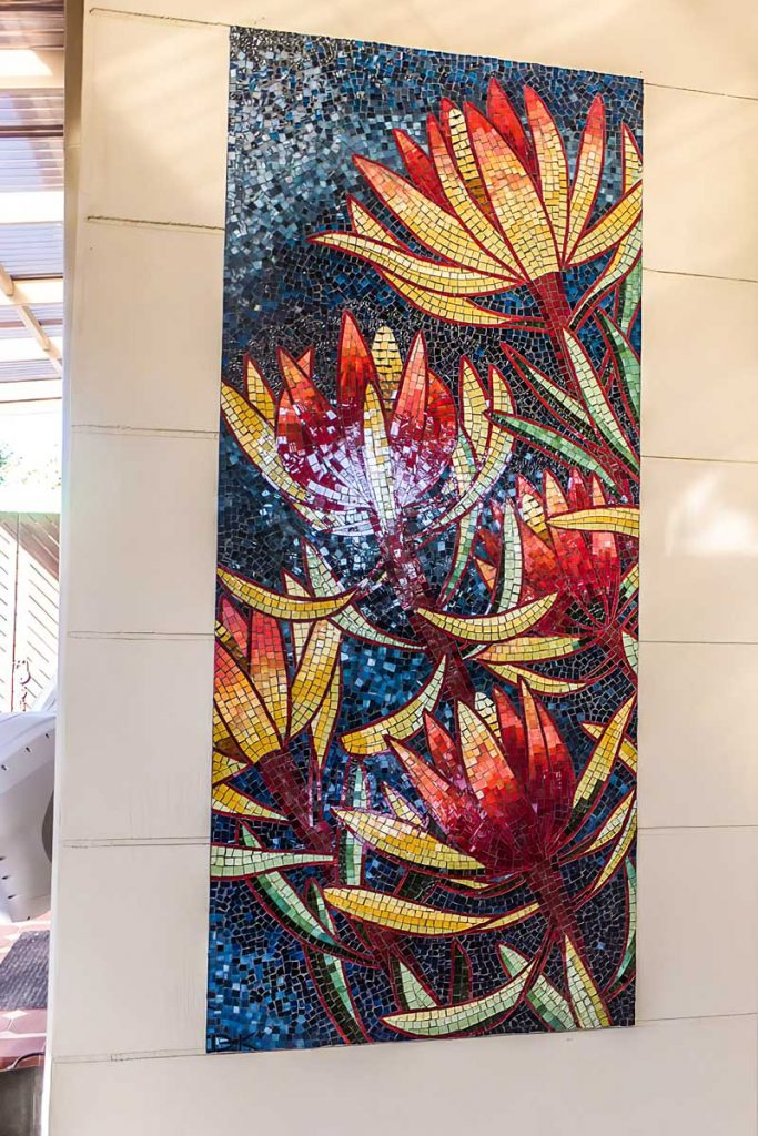 Leucadendron Mosaic 1 of 3 stained glass mosaic panels 1.5m x .65m Private commission - Seacliff