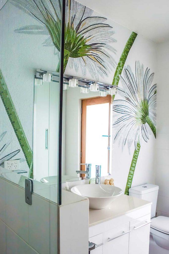 Gerbera Bathroom Wall 6m square stained glass bathroom mosaic