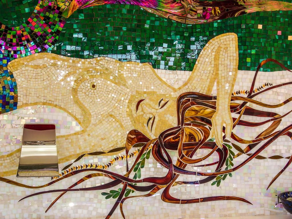 Mermaid Bathroom Mosaic 6m square stained glass and mirror mosaic Private Commission