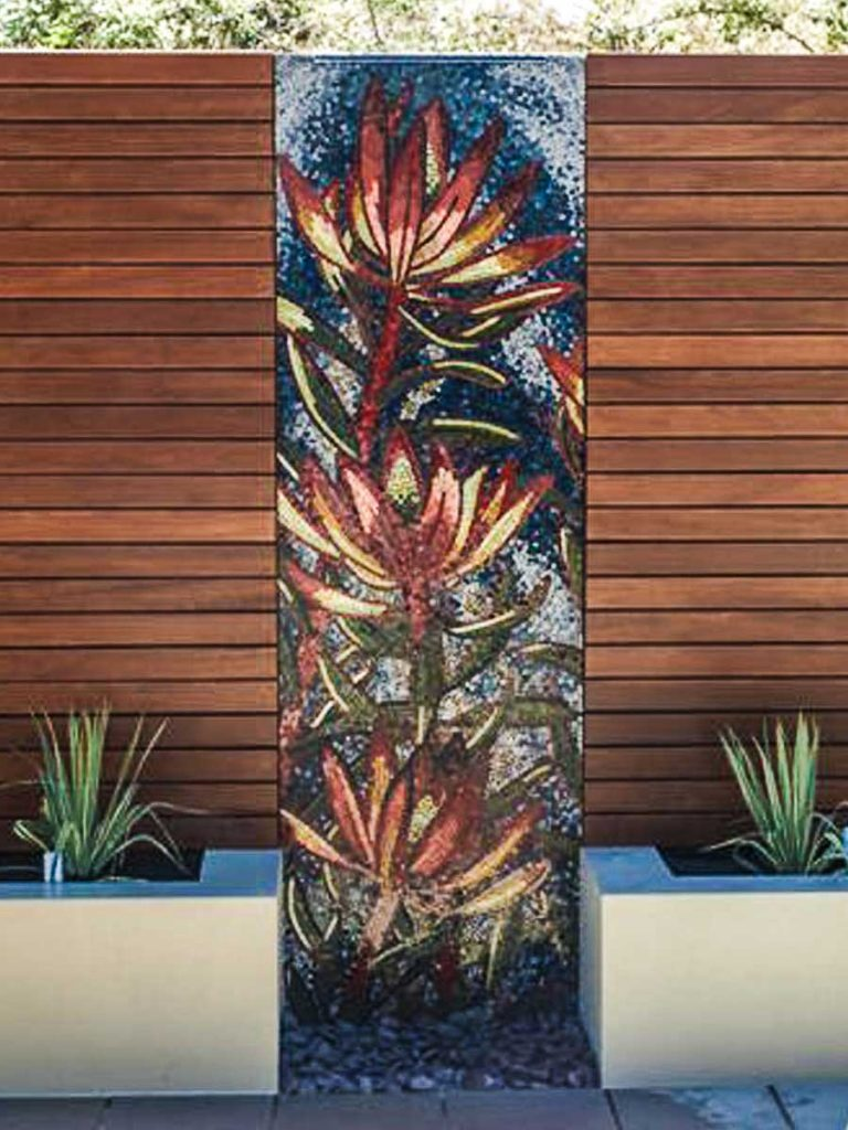 Leucadendron Water Feature 1.8m x .8m stained glass mosaic water feature Private commission - Aldgate