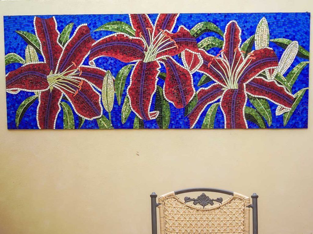 Red Lilium Mosaic 1.8m x .9m stained glass mosaic. Private commission - Glenelg
