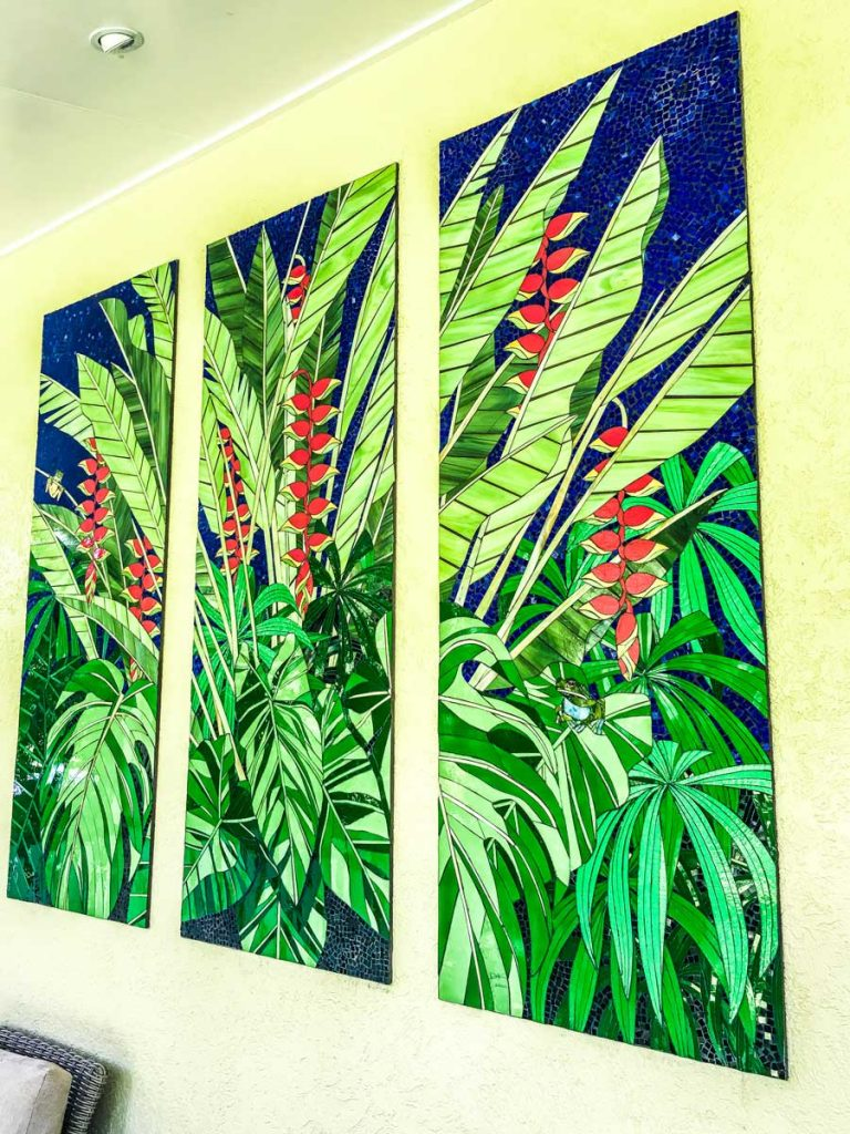 Heliconia Triptych 3 x 1.7m x .7m stained glass Heliconia mosaic panels. Private commission Cairns North Queensland