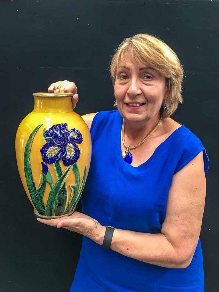 Christine Malinowski and her Iris vase