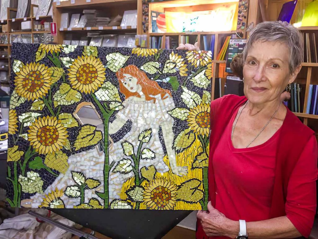 "Janice Adams with ""Emily in a Field of Sunflowers"""