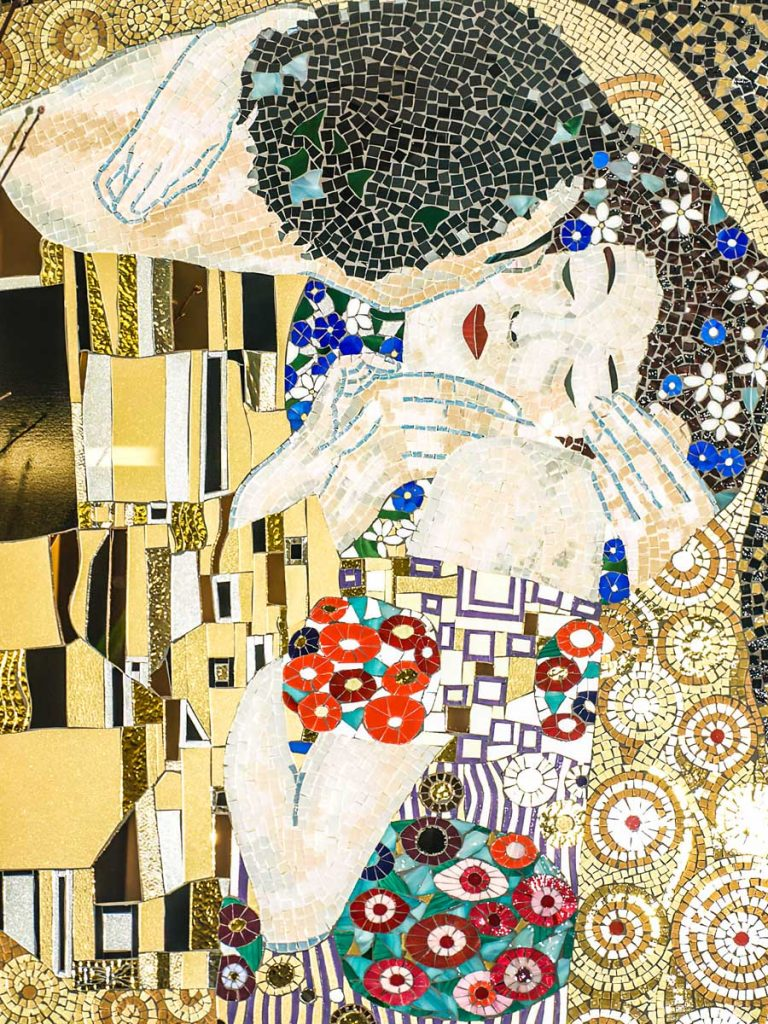 Tribute to Klimt's The Kiss 1m x .84m stained glass mosaic