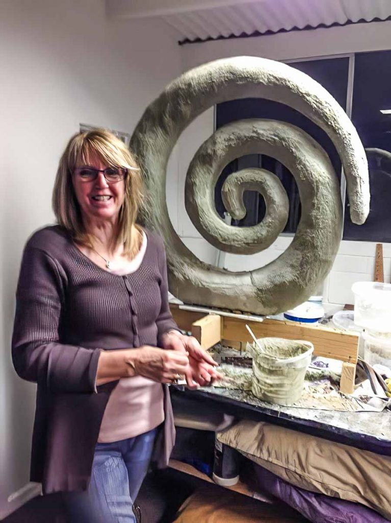 Artist: Lynne Ainsley Working on her Garden sculpture Wednesday night mosaic classes at my studio in Blackwood