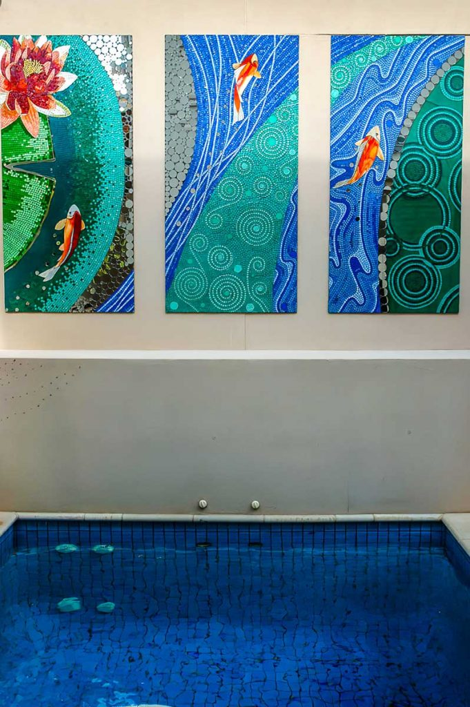 Meander Triptych 3 x .8m x 1.65m stained glass and mirror mosaic. Private commission - Norwood