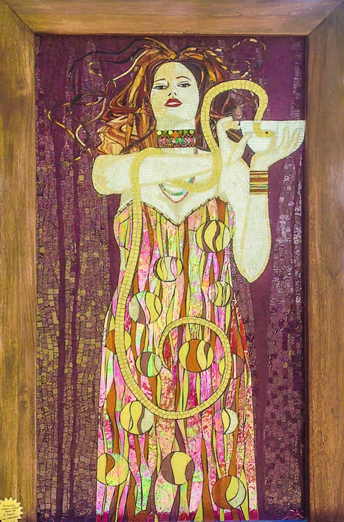 Medicine Woman Water Feature (Tribute to Gustaff Klimt) 1.8m x .9m stained glass mosaic water feature