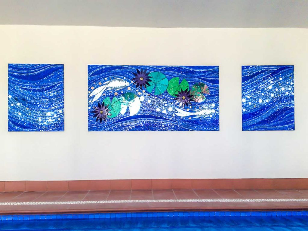 Fish and Water Lily mosaic 1 x 1m x 2m and 2 x 1m x .8m stained glass and mirror panels Langhorne Creek - private commission