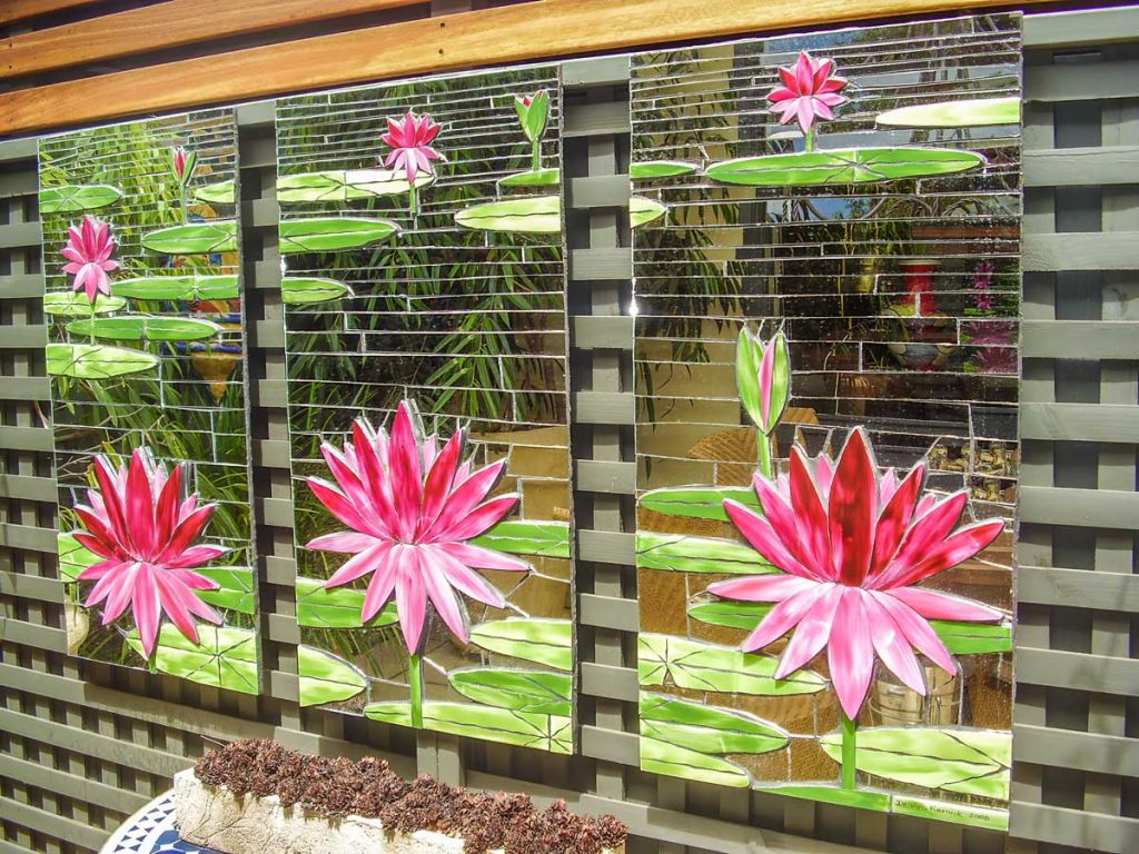 Water Lily on Mirror Background 3 x .5m x .8m hand painted ceramic tiles with mirror background. Private commission - Goodwood