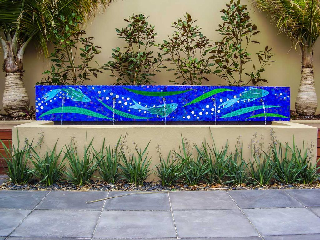 Fish and Wave Water Feature 2.4m x .4m stained glass and mirror mosaic. Private commission - Somerton Park