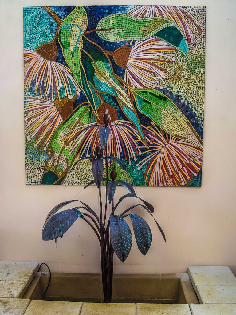 Gumnut Mosaic 1.2m x 1.2m stained glass mosaic. Private Commission