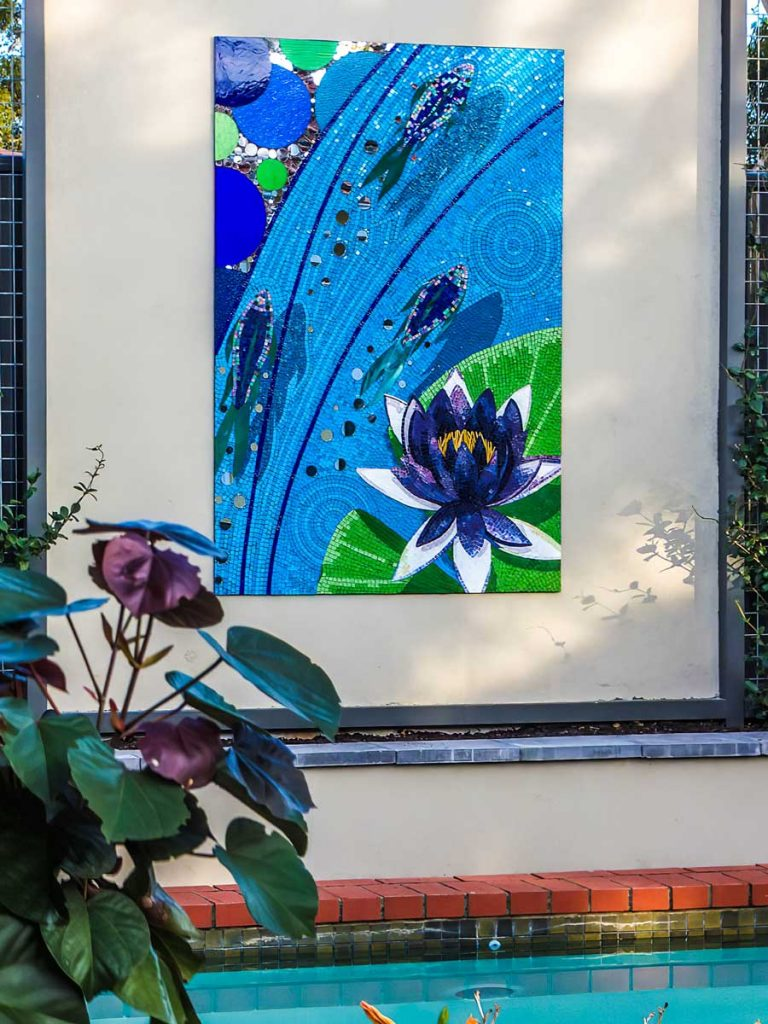 Water Lily and Fish Mosaic 1.8m x 1.2m stained glass and mirror mosaic. Private commission - Glenunga