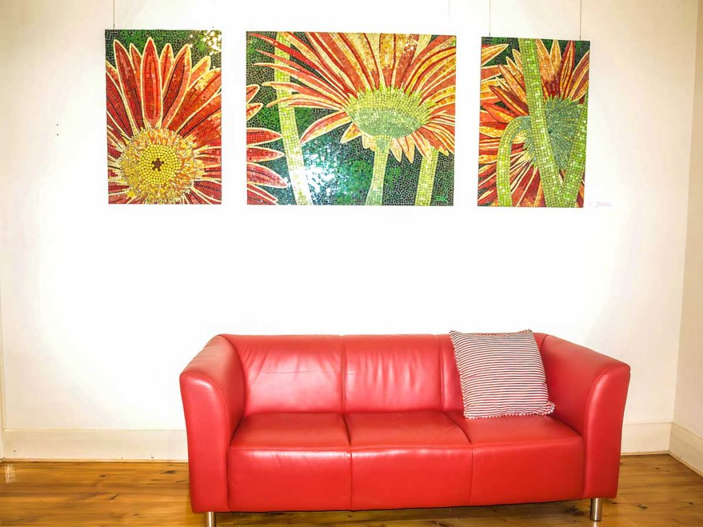 Red Gerbera Triptych 1 x 1.2m x 0.9m x 0.6m stained glass mosaic triptych. For Sale - suitable for outdoor installation