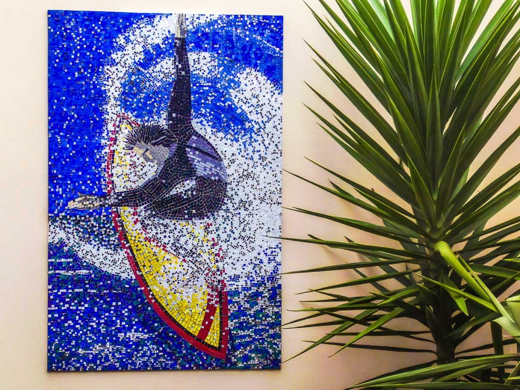 Surfer Mosaic 1.5m x .9m stained glass mosaic. Private commission - Somerton Park
