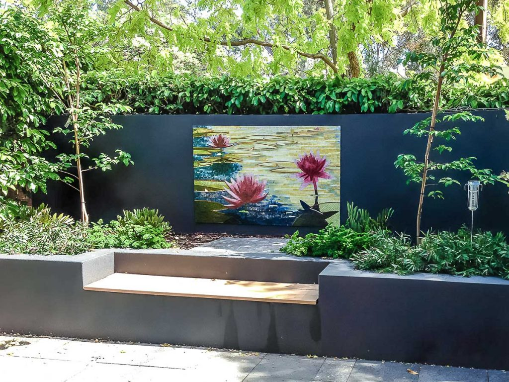 Sunset Water Lily mosaic Stained glass mosaic 1.4m x .9m Private commission - North Adelaide