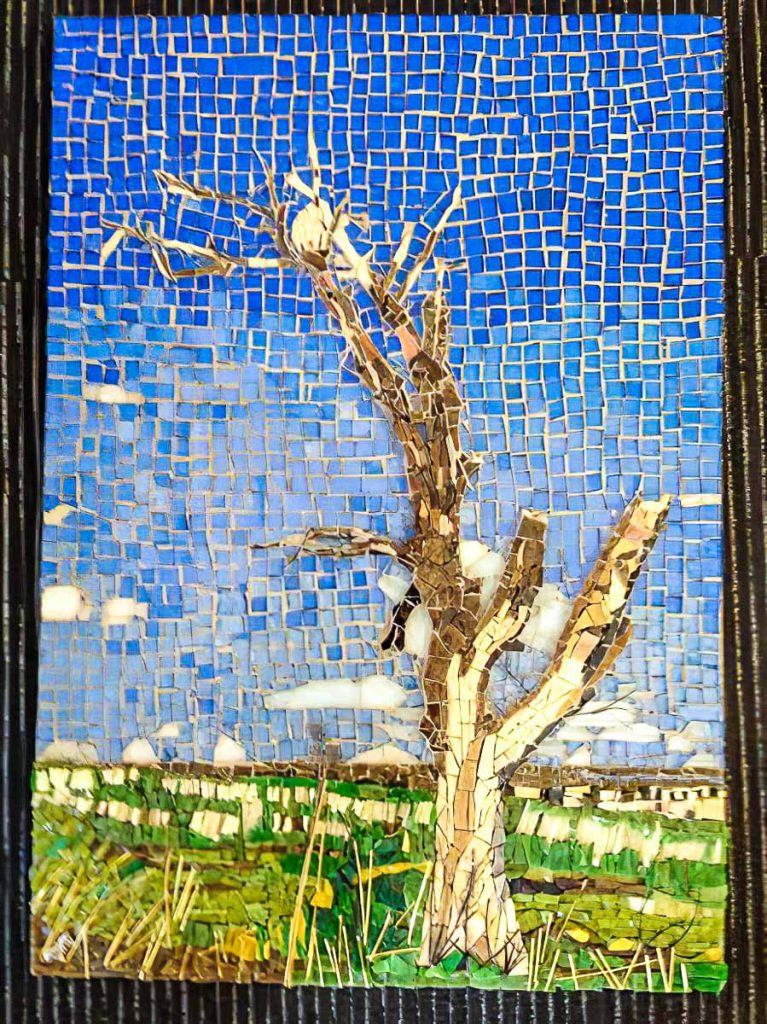 "Susan Woenne-Green's ""Desolation""  Stained glass, smalti and copper wire mosaic"