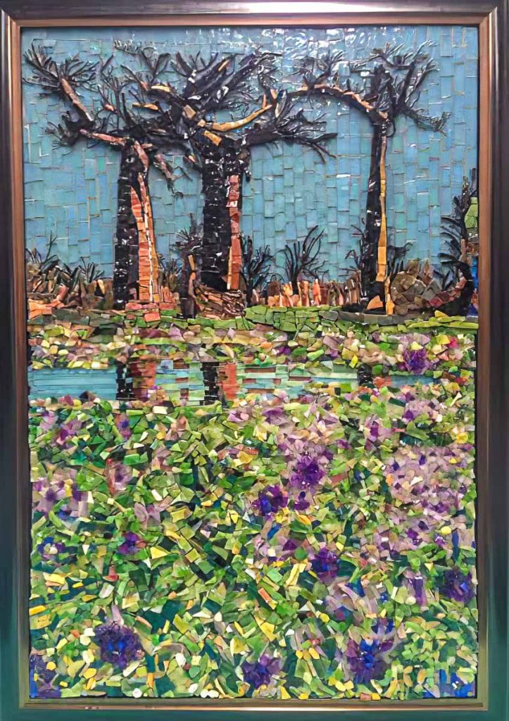 Artist: Susan Woenne-Green Stained glass and smalti Boab Tree mosaic Monday mosaic classes at The Glass Emporium
