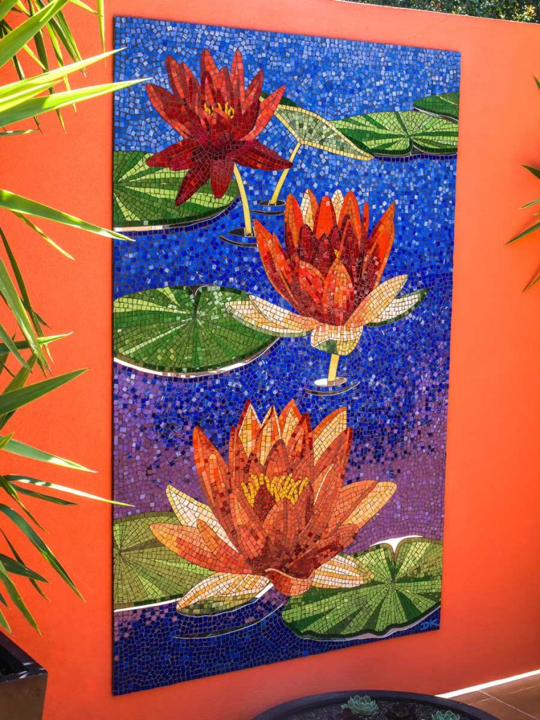 Red Water Lily Mosaic 1.6m x .9m stained glass and mirror mosaic. Private commission - Waterfall Gully