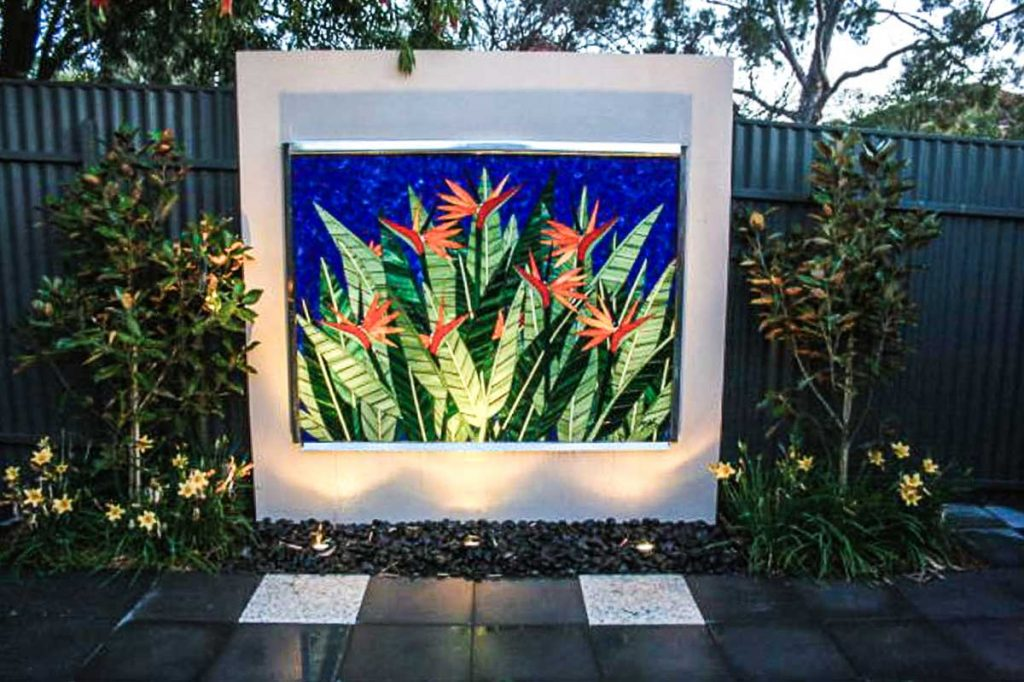 Bird of Paradise Water Feature 1.2 x 1.5m stained glass mosaic water feature Private commission - Burnside