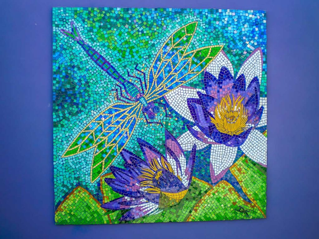 Dragon Fly and Water Lily Mosaic 1.2m x 1.2m stained glass mosaic. Private Commission.