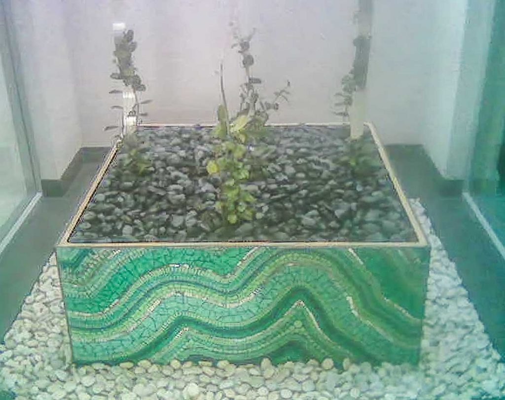 Atrium Planter Box Stained glass and mirror mosaic. Private commission - Grange