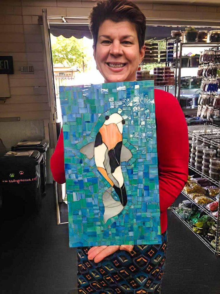 Artist: Rosemary Pulvirenti Rosemary with her Koi fish mosaic