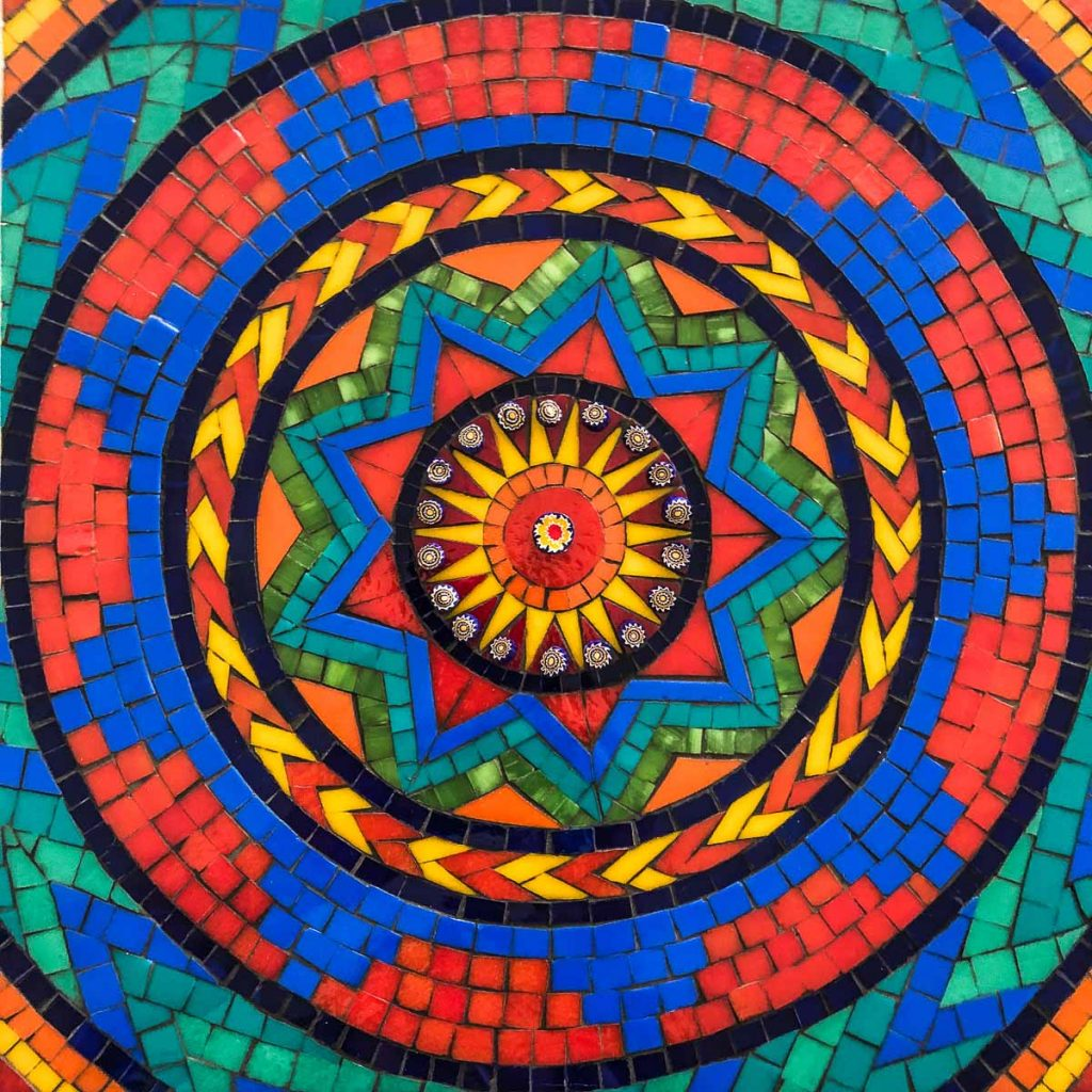 Aztec Mandala 30cm x 30cm Stained Glass Mosaic