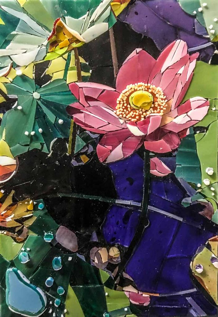 """Ubud After the Rain"" Bali Lotus Flower 30cm x 20cm stained glass mosaic"