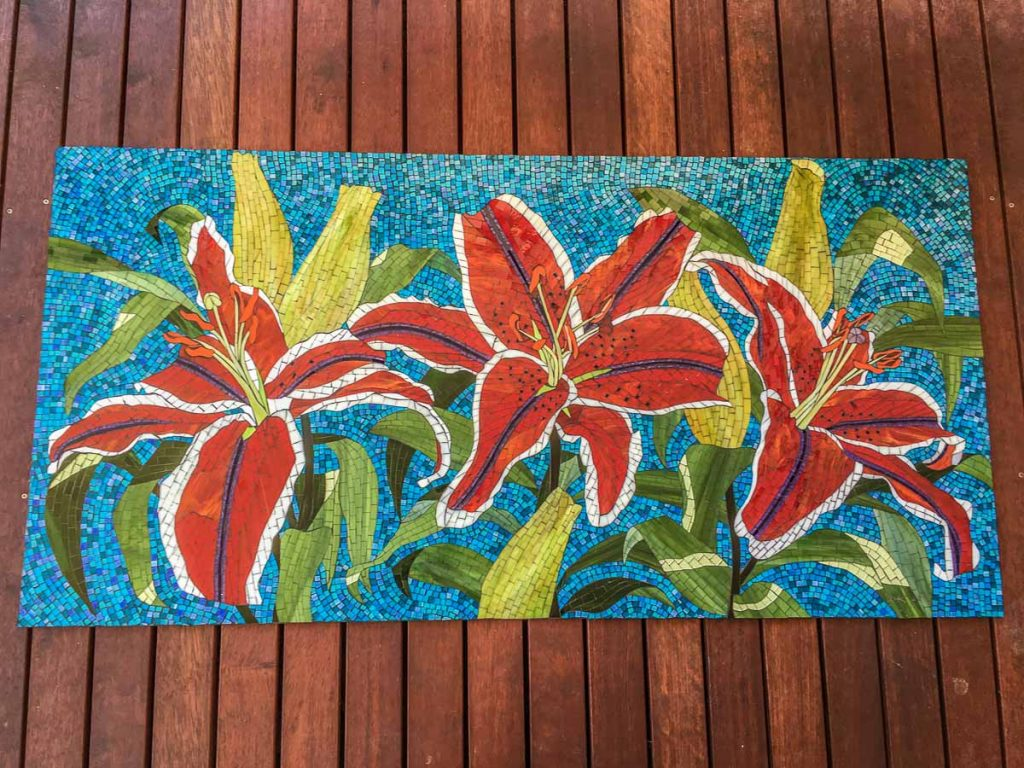 Lilium Mosaic 1.6m x 0.8m stained glass mosaic Private Commission: Terrigal NSW