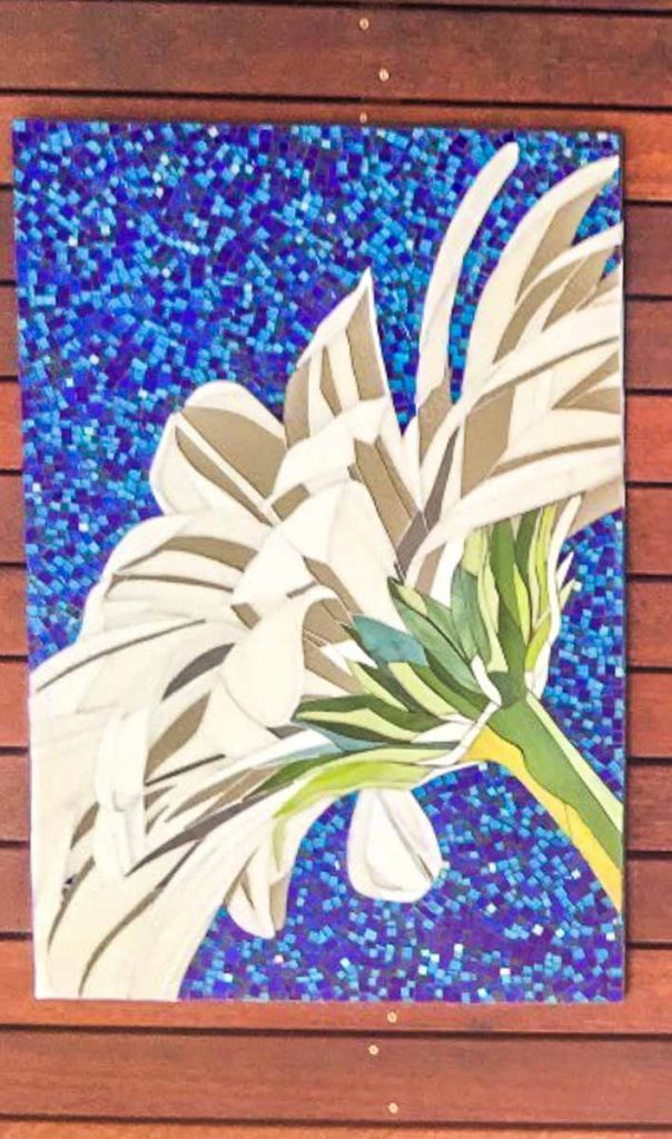 Gerbera Triptych 2 x 0.6m x 0.9m 1 x 0.9m x 1.2m stained glass mosaic Private Commission: Unley