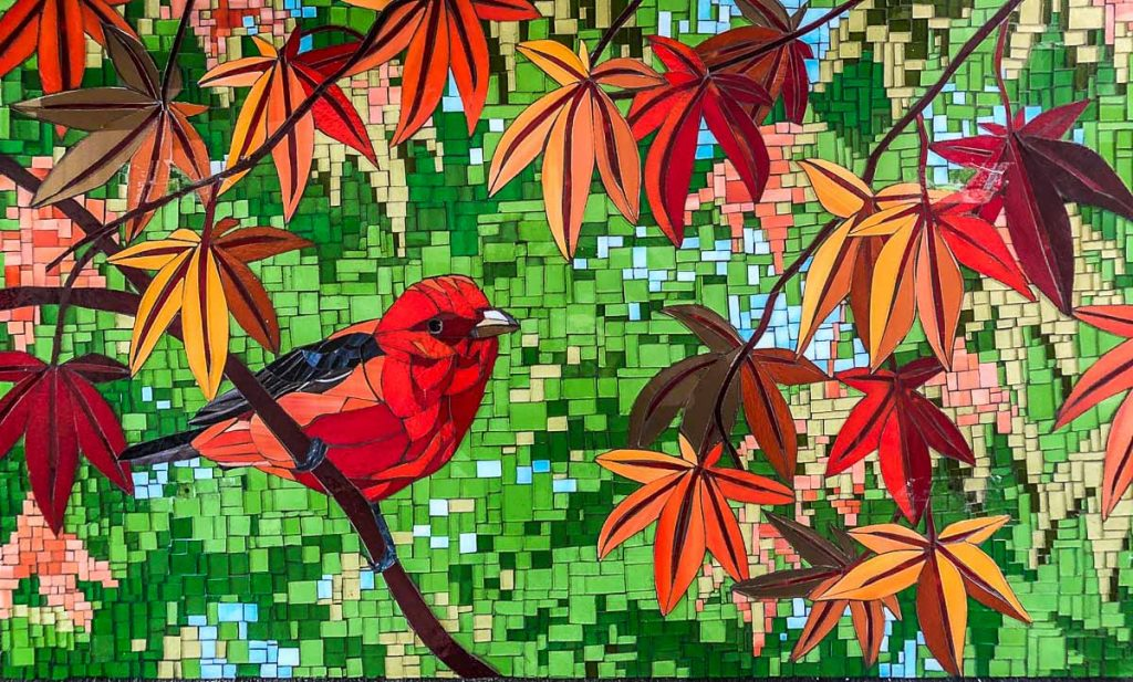 Robin Red Breast Kitchen Splashback 0.915m x 0.543m stained glass mosaic. Private Commission: Victoria