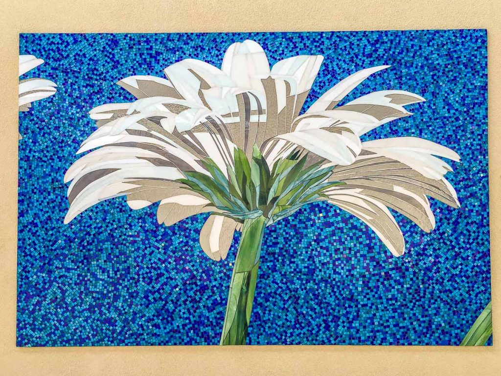 White Gerbera Triptych 2 x 1.2m x 0.9m 1 x 1.8m x 1.2m stained glass mosaic Private Commission: Prospect